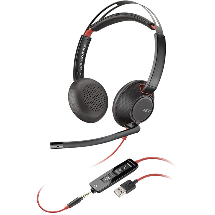 PLANTRONICS, BLACKWIRE, C5220, UC, STEREO, USB-A, &, 3.5MM, CORDED, HEADSET,