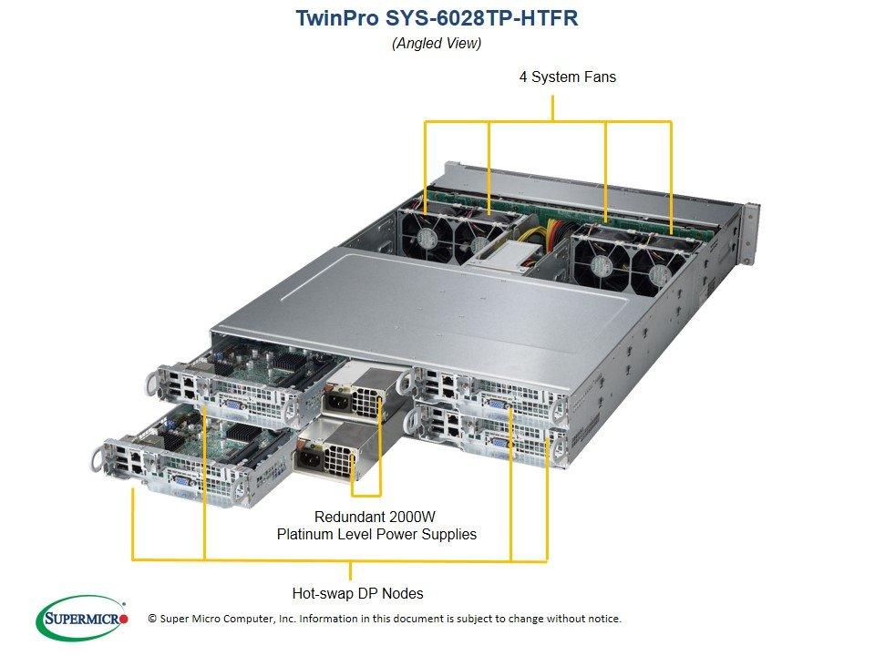 Supermicro, SuperServer, 6028TP-DNCTR, 2RU, Two, Node, Barebones, Server, Dual, LGA2011, 2, x, 10Gbe, 6, x, 3.5, HDD, per, node, LSI30,