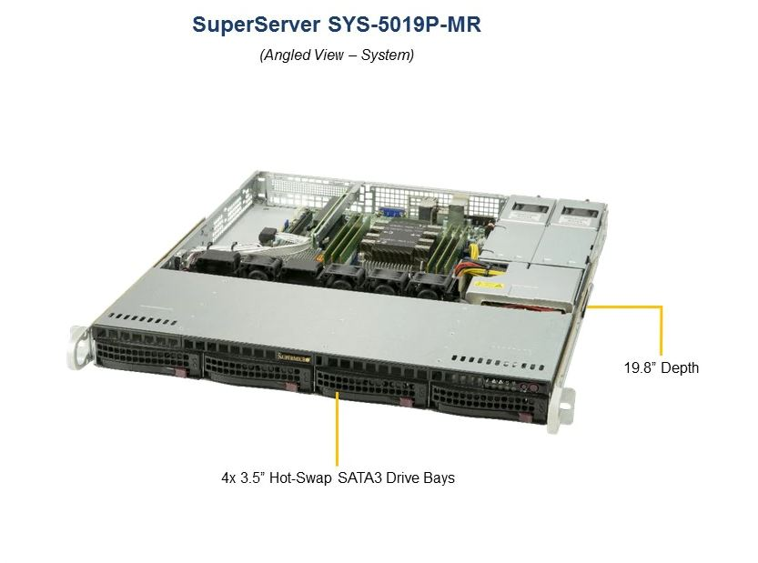 Supermicro, 1RU, SuperServer, 5019P-MR, Barebone, Server, Single, Scaleable, Socket, LGA3647, 4, x, 3.5, HDD, Hot, Swap, IPMI, 400w,