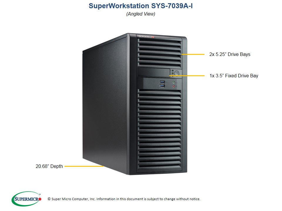 Supermicro, SuperWorkstation, 7039A-I, 4U, Tower, Dual, Socket, LGA3647, 16x, DIMM, Intel, C621, 2, x, GB, LAN, IMPI, 4, x, 3.5, Dis,