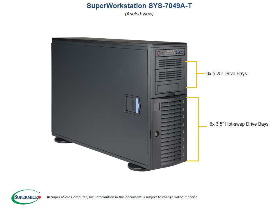 Supermicro, SuperWorkstation, 7049A-T, 4U, Tower, Dual, Socket, LGA3647, 16x, DIMM, Intel, C621, 2, x, GB, LAN, IMPI, 8x, 3.5, Disk,