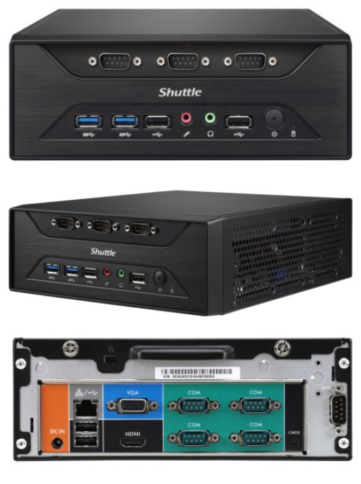 Shuttle, XC60J, Fanless, 3L, PC, -, Celeron, J3355, 2x, DDR3L, SODIMM, 1x, 2.5, or, 3.5, HDD, M.2, 8x, RS232, 1x, VGA, +, 1x, HDMI, USB3.,