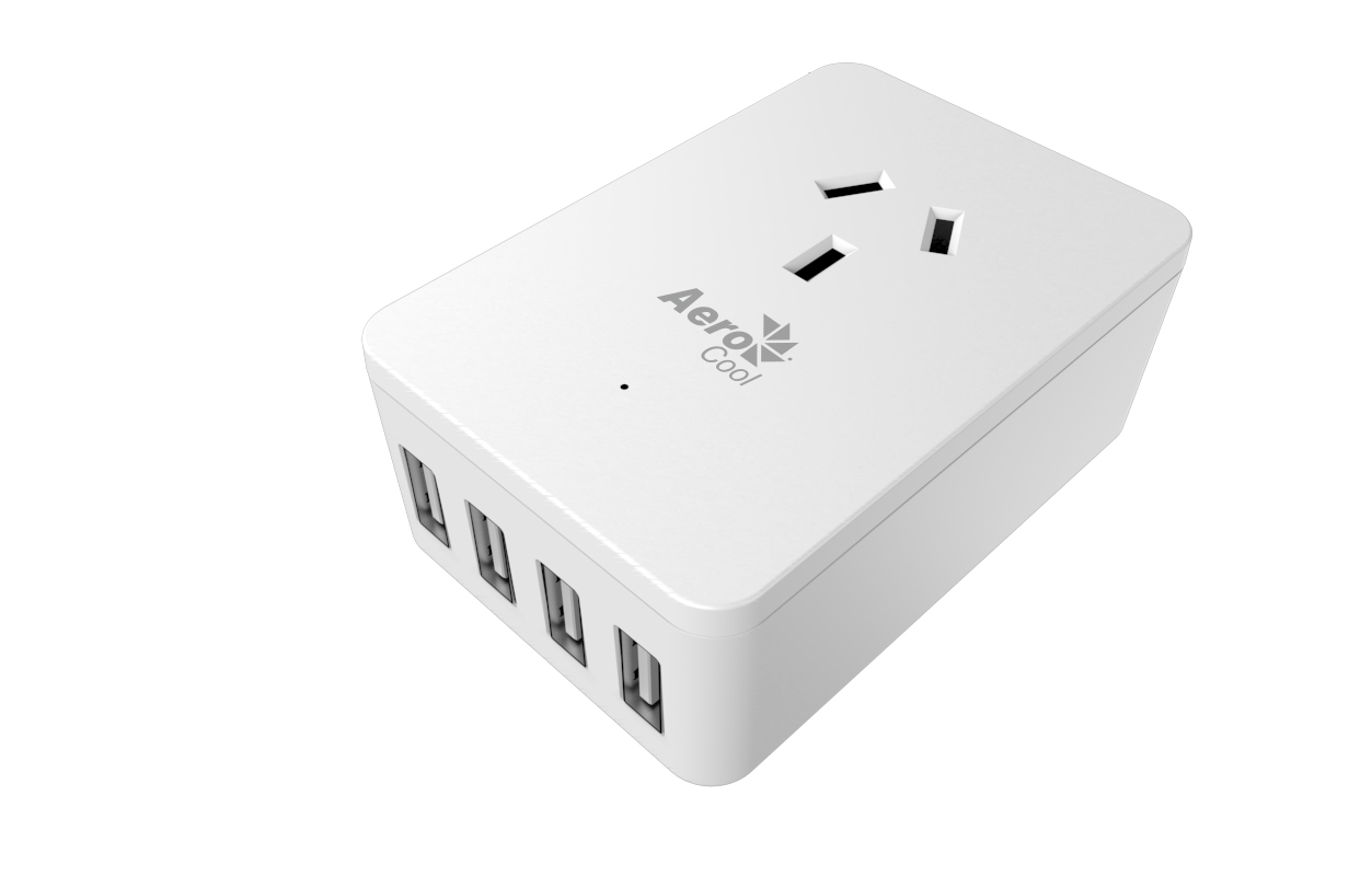 Aerocool, ASA, ST1A4U2, Power, Board, Wall-Mounted, w/, 1, AC, Outlet, and, 4, USB, Charging, Ports, 5V/2.4A, LS,