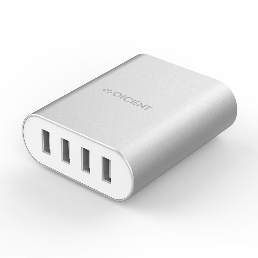 Orico, Aluminum, 4, x, USB, Port, -, 2.4A, -, Desktop, Charger, -, Silver,