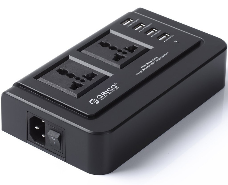 ORICO, 2, AC, Outlets, and, 4, USB, Travel, Prower, Board, -, Black, (OPC-2A4U),