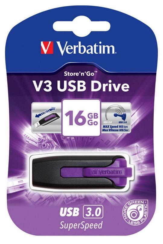 Verbatim, 16GB, V3, USB3.0, Violet, Store, n, Go, V3;, Rectractable,