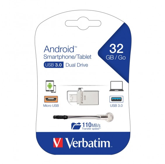 Verbatim, Store, n, Go, OTG, Micro, USB, 3.0, Drive, 32GB, Android, Smartphone/Tablet, Dual, USB,