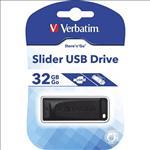 Verbatim, USB2.0, Store, n, Go, Slider, USB, Drive, 32GB, Black,