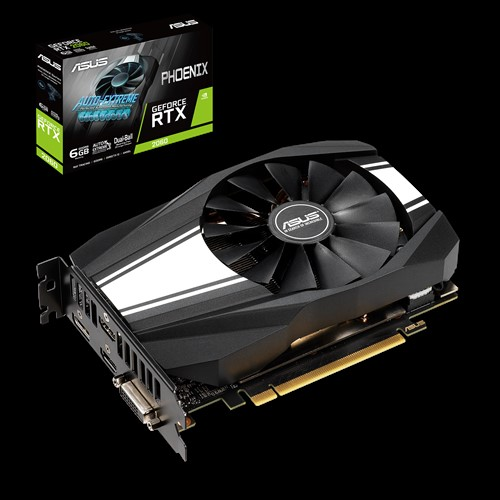 ASUS, nVidia, Phoenix, GeForce, RTX, 2060, 6GB, GDDR6, Turing, GPU, 2, Fans, 1xDP/2xHDMI/1xDVI-D, 1710, Boost, NON-RGB,