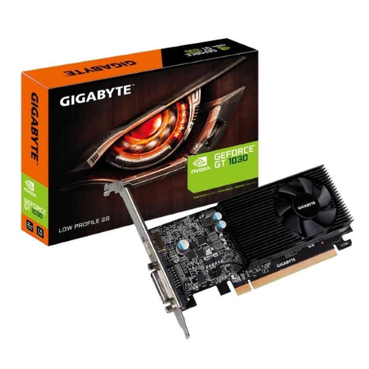 Gigabyte, nVidia, GeForce, GT, 1030, 2GB, DDR5, Fan, PCIe, Video, Card, 4K, @, 60Hz, HDMI, DVI, 2xDisplays, Low, Profile, 1506/1468, MHz, VCG,