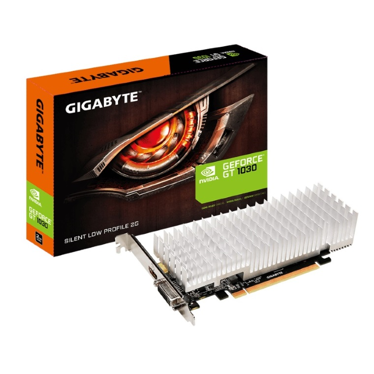 Gigabyte, nVidia, GeForce, GT, 1030, 2GB, DDR5, Silent, PCIe, Video, Card, 4K@60Hz, HDMI, DVI, 2x, Displays, Low, Profile, 1506/1468, MHz, ~,