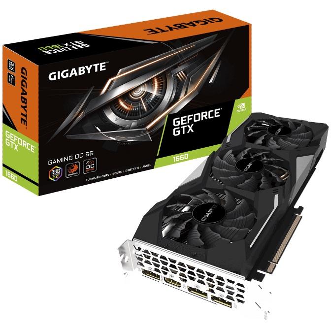 Gigabyte, nVidia, GeForce, GTX, 1660, Gaming, OC, 6GB, Video, Card, 7680x4320@60Hz, 3xDP, HDMI, 4xDisplays, Windforce, 3X, Cooling, RGB, 1,