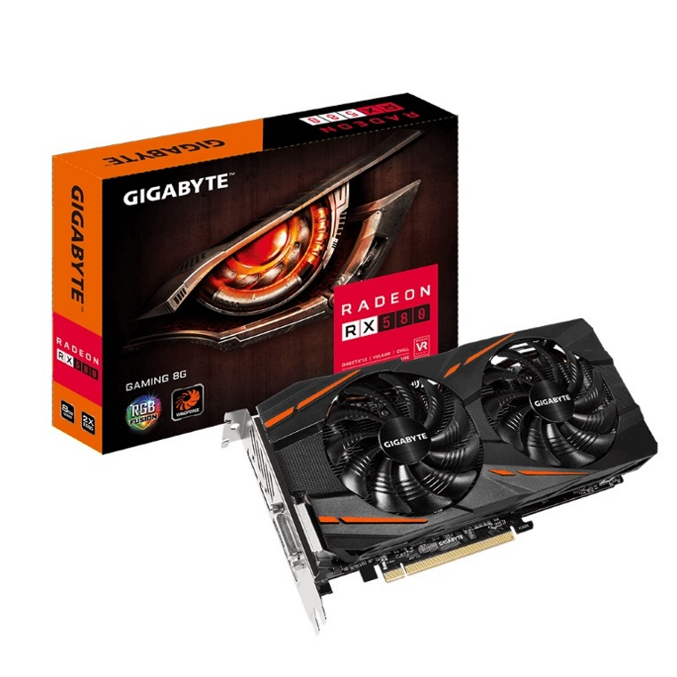 Gigabyte, AMD, Radeon, RX, 580, Gaming, 8GB, DDR5, PCIe, Video, Card, 8K, 7680x4320, 5xDisplays, DVI, HDMI, 3xDP, 1365/1340, MHz, RGB, Windf,