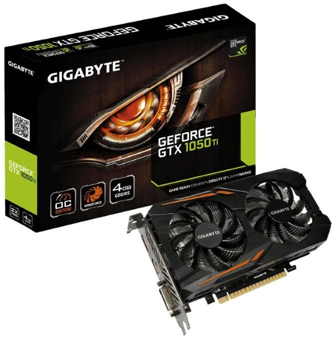 Gigabyte, nVidia, GeForce, GTX, 1050, Ti, OC, 4GB, PCIe, Video, Card, 8K, @, 60Hz, DP, HDMI, DVI, 3x, Displays, Windforce, 2X, RGB, OC, 1455/14,