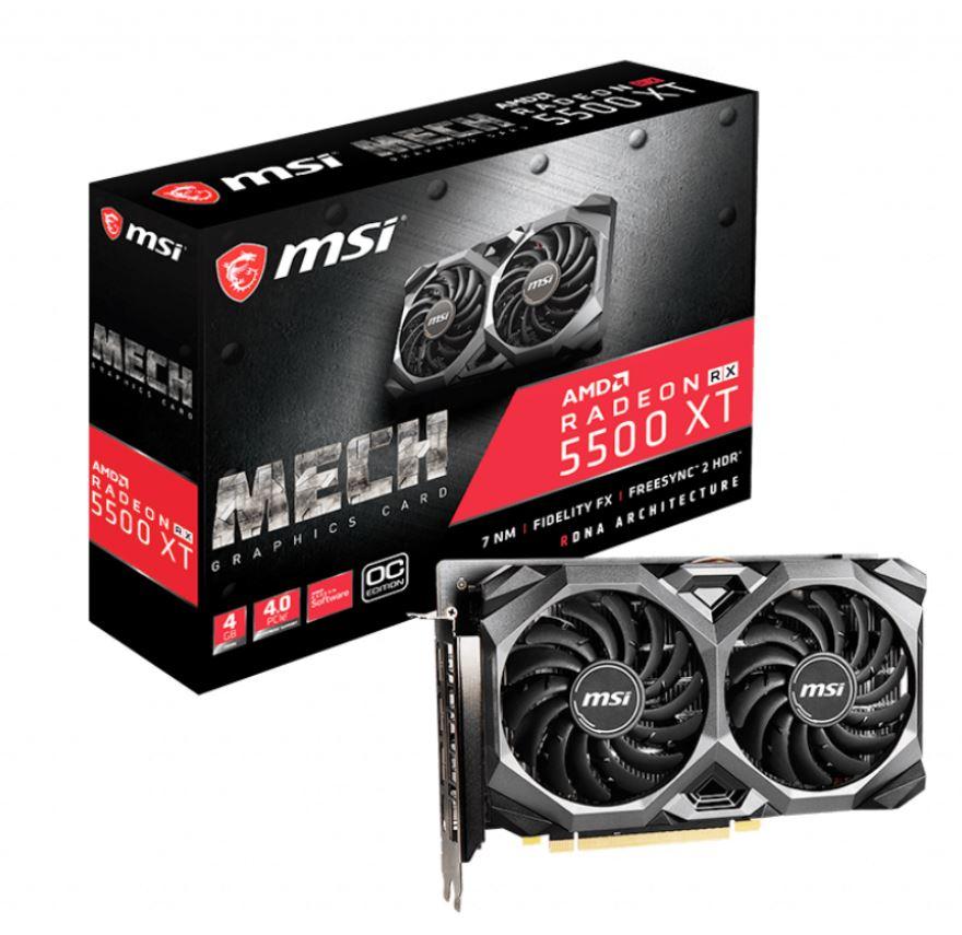 MSI, AMD, Radeon, RX, 5500, XT, Mech, OC, 4GB, GDDR6, PCIe, 4.0, Graphics, Card, 7680x4320, 4xDisplays, 3xDP, HDMI, 1845/1647, MHz, 51nm, TOR,