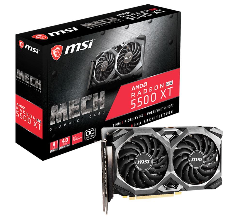 MSI, AMD, Radeon, RX, 5500, XT, MECH, 8G, OC, 8GB, GDDR6, PCIe, 4.0, Graphics, Card, 7680x4320, 4xDisplays, 3xDP, HDMI, 1845/1647, MHz, TORX,