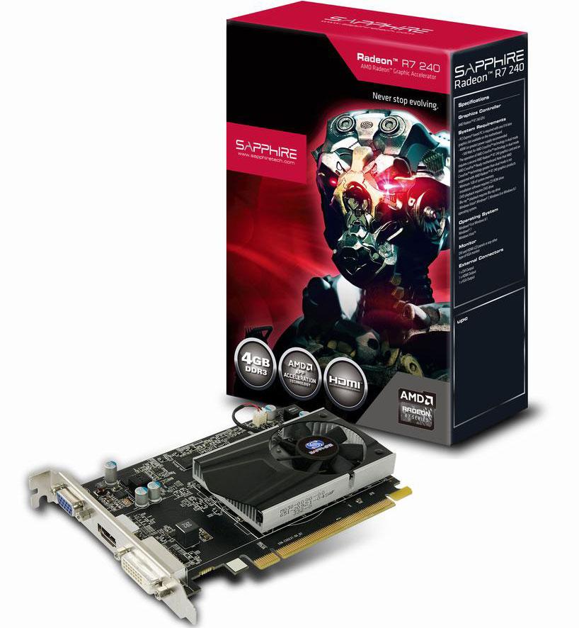Sapphire, AMD, R7, 250, 4GB, PCI-E, GDDR3, PCI-E, DVI/HDMI/VGA, 925MHz,