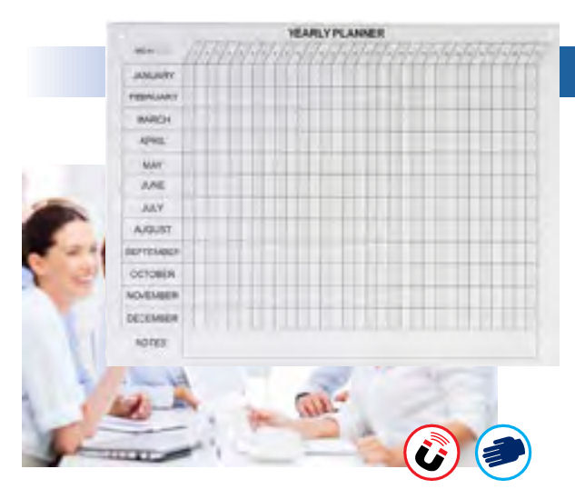 Visionchart, Magnetic, Glass, YEAR, Planner, 1200, x, 900mm,